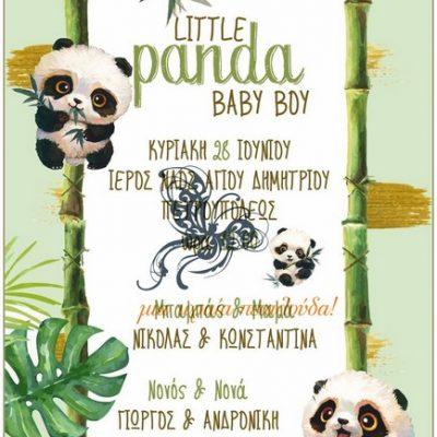 προσκλητηριο βαπτισης panda