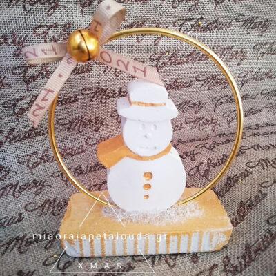 χειροποιητο επιτραπεζιο γουρι χιονανθρωπος απο τσιμεντο