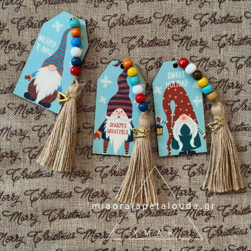 christmas gnomes wooden tags lucky charms