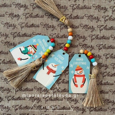 snowman wooden tags lucky charms 21