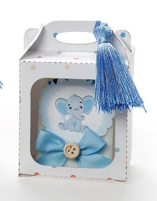Μπομπονιέρα βάπτισης για αγόρι σαπουνάκι σε κουτί
