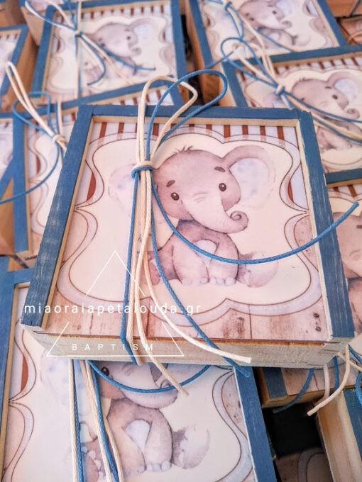 μπομπονιερα βαπτισης για αγορι ξυλινο κουτακι ελεφαντακι